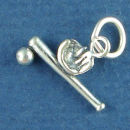 Baseball Bat, Ball and Glove 3D Sports Sterling Silver Charm Pendant