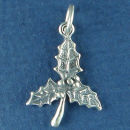 Christmas: Holly Sterling Silver Charm Pendant