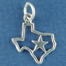 Texas State Outline with Lone Star Sterling Silver 3D Charm for Charm Bracelet