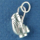 Golf Bag 3D Sterling Silver Charm Pendant Charm Bracelet Sized