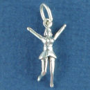 Cheerleader Jumping 3D Sterling Silver Charm Pendant