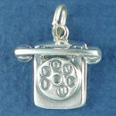 Telephone with I Love U Dial Sterling Silver Charm Pendant