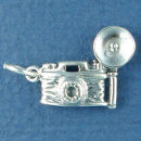 Camera with Flash Sterling Silver Charm Pendant