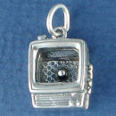 Television 3D Sterling Silver Charm Pendant