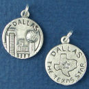 Tour: Dallas Texas Double Sided Sterling Silver Charm Disk Pendant