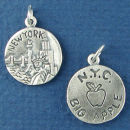 Tour: New York Double Sided Sterling Silver Charm Disk Pendant