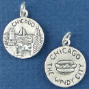 Tour: Chicago Double Sided Sterling Silver Charm Disk Pendant