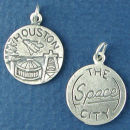 Tour: Houston The Space City Double Sided Sterling Silver Charm Disk Pendant