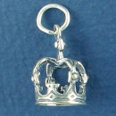 Crown of a King 3D Sterling Silver Charm Pendant