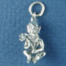 Leprechaun Charm with Clover or Shamrock 3D Irish Sterling Silver Pendant
