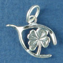 Wishbone with Shamrock Four Leaf Clover Charm Lucky Sterling Silver Charm