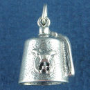 Shriner and Mason Lodge Fez Hat 3D Sterling Silver Charm Pendant