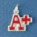 School A+ with Red Enamal Child's Sterling Silver Charm Pendant
