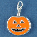 Halloween Jack O Lantern with Orange Enamel Sterling Silver Charm Pendant