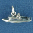 Speed Ski Boat Nautical 3D Sterling Silver Charm Pendant