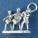 Patriots, Three Colonial Soldiers 3D Sterling Silver Charm Pendants