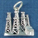 Texas Oil Derrick Sterling Silver Charm Pendant for Charm Bracelet