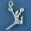 Cheerleader Jumping with Pom Poms 3D Sterling Silver Charm Pendant