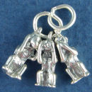 Monkeys Three See, Hear and Speak No Evil 3D Sterling Silver Charm Pendant