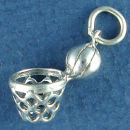 Basketball with Net 3D Sports Sterling Silver Charm Pendant
