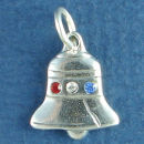 Liberty Bell with Red, White and Blue Swarovski Crystal Sterling Silver Charm Pendant