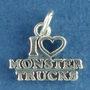 Monster Trucks, I Heart Love Sterling Silver Charm Pendant