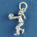 Volleyball Girl Serving Ball Sports Sterling Silver 3D Charm Pendant