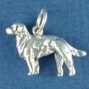 Dog with Long Hair 3D Sterling Silver Charm Pendant