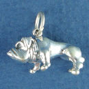 Dog, Bulldog Large 3D Sterling Silver Charm Pendant