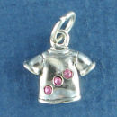 Ladies T-Shirt Clothing with Pink Swarovski Crystal 3D Sterling Silver Charm Pendant
