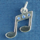 Music Note with Blue Swarovski Crystal Sterling Silver Charm Pendant
