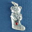Christmas Teddy Bear in Stocking with Red Swarovski Crystal Sterling Silver Charm Pendant