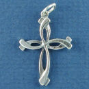 Cross from Over Lapping S Design Sterling Silver Charm Pendant