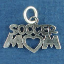 Soccer Mom with Open Heart Sports Sterling Silver Charm for Charm Bracelet or Necklace