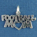 Football Mom with Cutout Heart Sterling Silver Charm Pendant