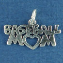 Baseball Mom with Open Heart Sports Sterling Silver Charm Pendant