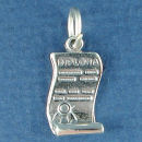 Graduation Diploma Unrolled 3D Sterling Silver Charm