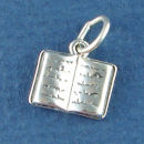 School Book Open 3D Sterling Silver Charm Pendant