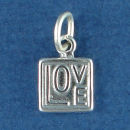 Love Word Phrase Sterling Silver 3D Charm Pendant in Modern Square Design