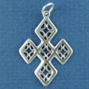 Cross Filigree 3D Sterling Silver Charm Pendant