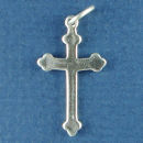 Cross Plain 3D Sterling Silver Charm Pendant