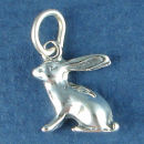 Bunny Rabbit Hare 3D Sterling Silver Charm Pendant