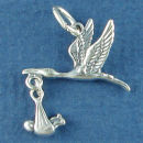 Baby with Stork Bird Moveable 3D Sterling Silver Charm Pendant