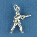 Military: Soldier with Rifle 3D Sterling Silver Charm Pendant
