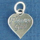 Wedding, Flower Girl Word Phrase on Sterling Silver Heart Charm Pendant