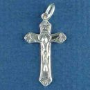 Christian Crucifix Cross with Jesus Small Sterling Silver Charm Pendant