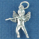 Angel of Music Playing a Flute 3D Sterling Silver Charm Pendant