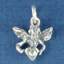 Angel Charm Sterling Silver Pendant Holding a Heart
