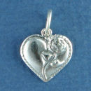 Heart with Rose Sterling Silver Charm Pendant