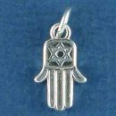 Religious Jewish Hamsa Hand with Star of David Sterling Silver Charm Pendant